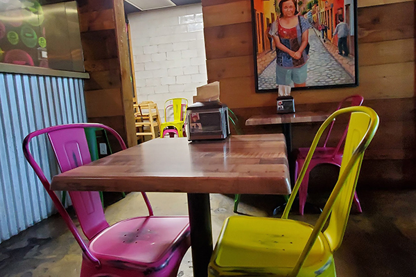 Tolix style chairs on location