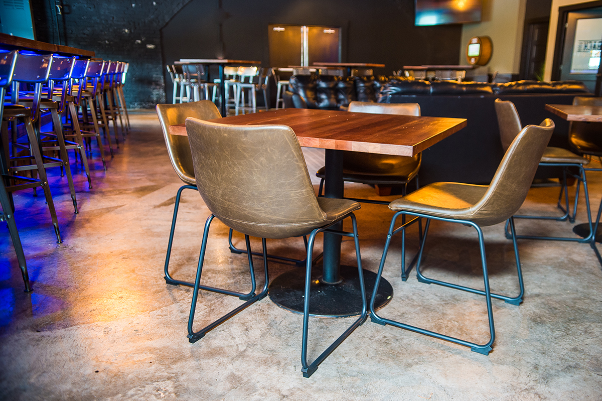 restaurant chairs and wood tables
